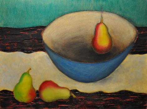 """Levitating Pear"" (2013) by Marjan Nirou Saniee"