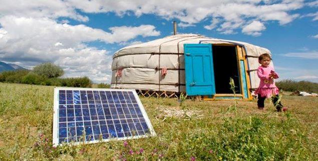 Solar panel with yurt