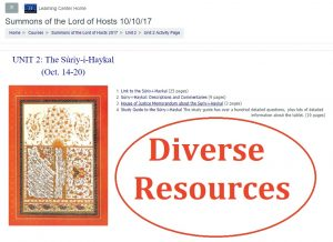 Screenshot from course pages showing diverse resources