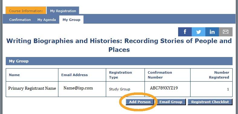 My Group page screenshot