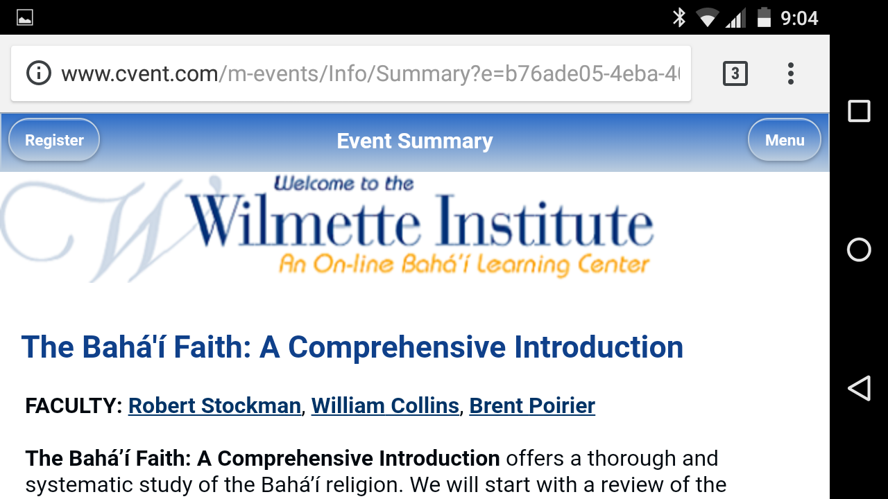 Registering for a Wilmette Institute Course on Your Mobile Device: A New Service