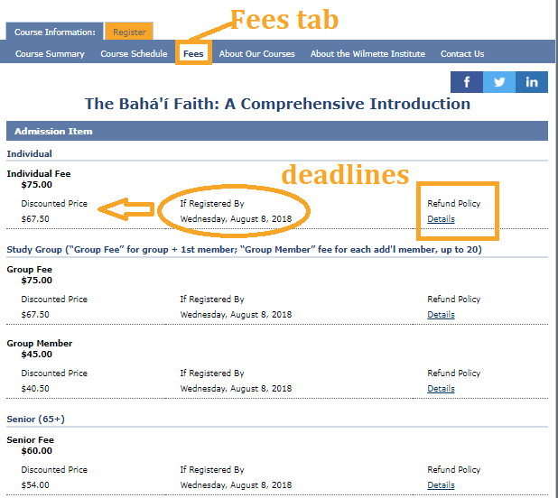 On the Fees tab you will find the deadline for the early registration discount, as well as refund policies.