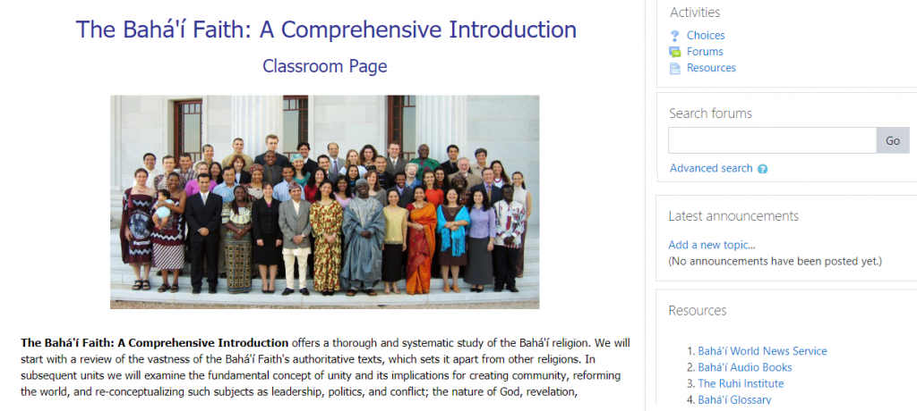 Screenshot of top of Baha'i Faith: A Comprehensive Introduction Classroom Page