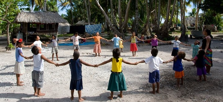 A children's class in South Tarawa, Kiribati