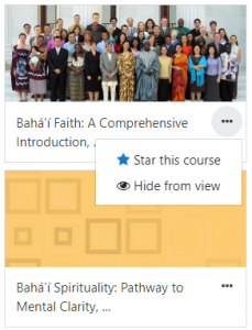 Screenshot showing where to click to star a course