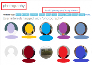What you might see when you click the photography tag