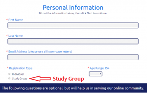 screenshot showing study group radio button