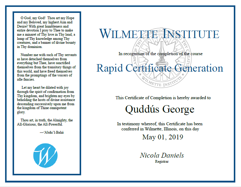 Dummy Certificate awared to Quddus George for Rapid Certificate Making