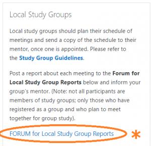 Local Study Groups navigation box