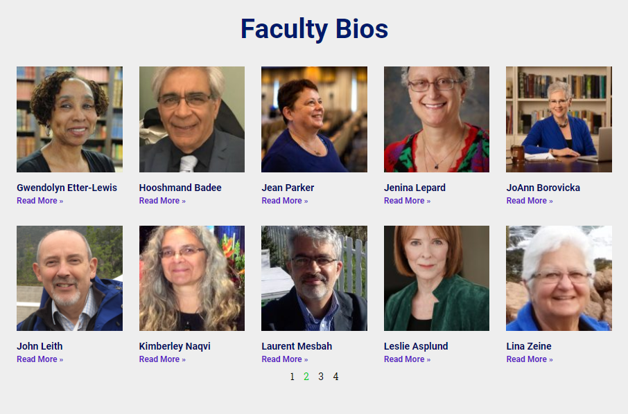 Second page of faculty photos (there are 10 per page)