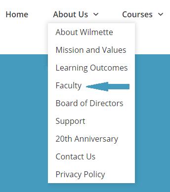"Screenshot showing Faculty bios landing page in ""About Us"" dropdown menu."