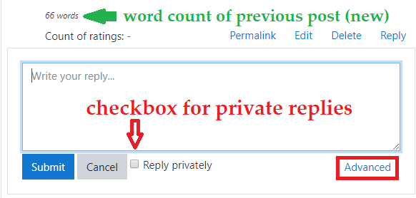 Screenshot showing the default text box for reply posts.