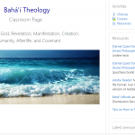 Screenshot of top of Baha'i Theology Classroom Page