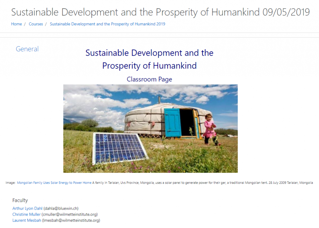 Screenshot of posrtion of Sustainable Development (2019) Moodle Classrroom page