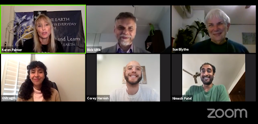 Screenshot of panelists on February Welcome to WE show
