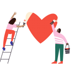 Illustration showing two figures painting a red heart on a wall