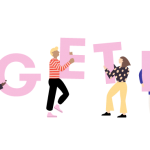 """Illustration showing people of diverse backgrounds carrying letters that spell """"TOGETHER"""""""