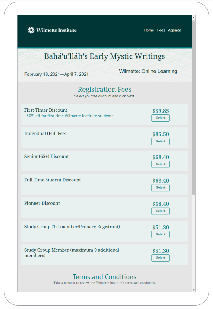 Typical 2021 Registration Fees page. This page also reflects an automatic 10% discount for early registration (4 weeks or more before start of course)