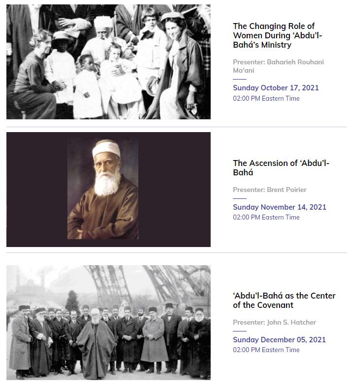 Three Abdu'l-Baha Webinars (screenshot)