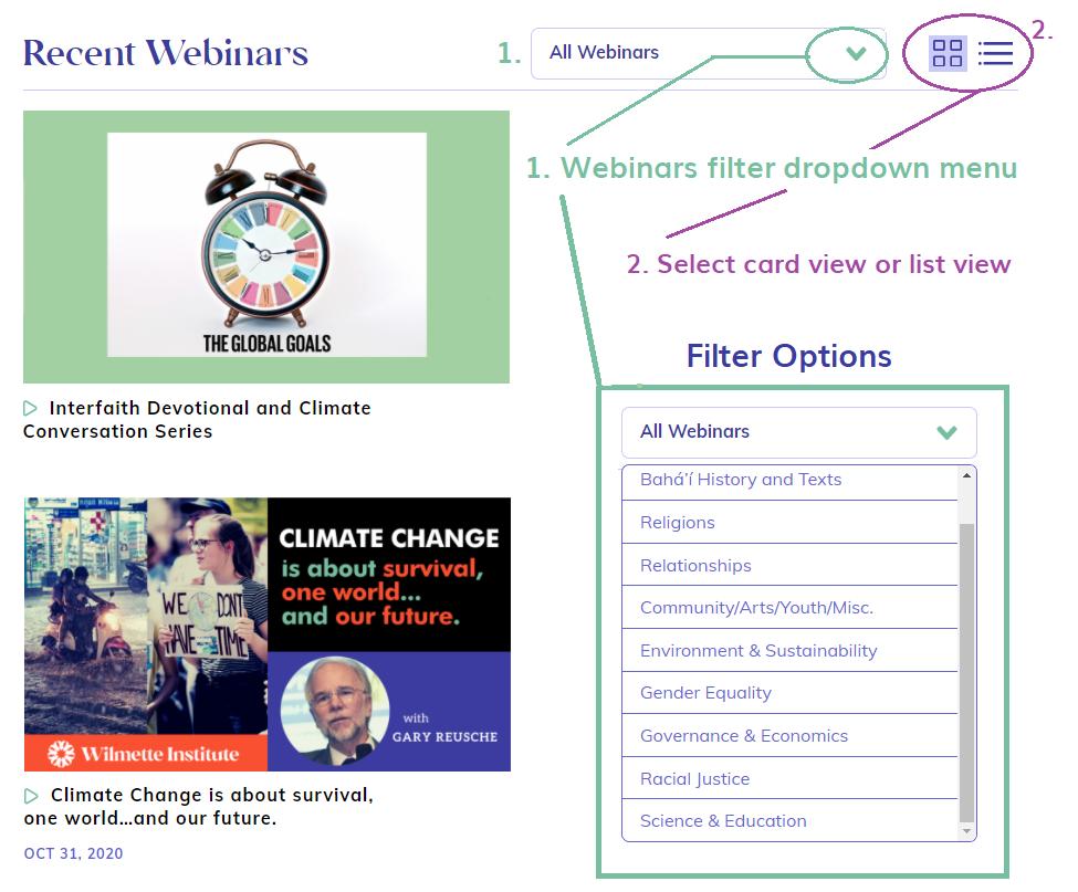 Webinars Filter (annotated screenshot)